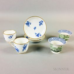 Pair of French Porcelain Teacups and Saucers