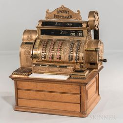 Brass National Cash Register Co. Class 500 with Patented Electric Motor
