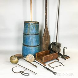 Group of Iron, Brass, and Wood Domestic Items