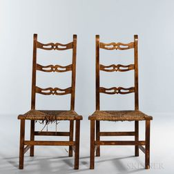 Pair of Maple Country Chippendale Side Chairs