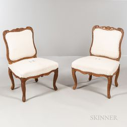Pair of Carved Chestnut Side Chairs