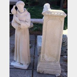 Sandstone Statue of Saint Francis of Assisi with Pedestal Base.
