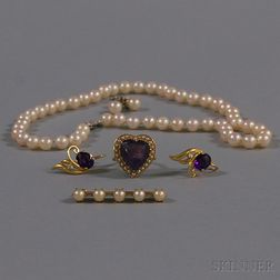 Five Pieces of Pearl and Amethyst Jewelry