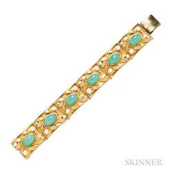 High-karat Gold, 18kt Gold, Chrysoprase, and Cultured Pearl Bracelet