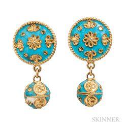 18kt Gold and Enamel Screw-back Earrings