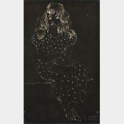 Konrad Cramer (German/American, 1888-1963)      Cliché-verre Portrait of a Young Woman