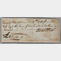 Jones, John Paul (1747-1792) Signed Receipt, Philadelphia, 17 July 1783.