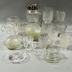 Group of Colorless Pressed Glass Tableware Items.     Estimate $200-250