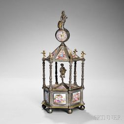 Viennese Architectural Silver and Enamel Pillar Clock