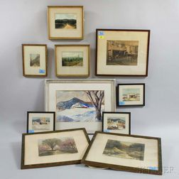 Ten Framed Wallace Nutting and David Baker Works.     Estimate $200-300