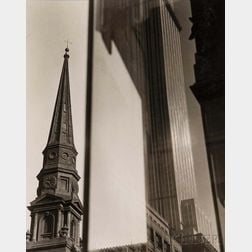 Sherril Schell (American, 1877-1964)      Window Reflection, Brick Presbyterian Church and Empire State Building