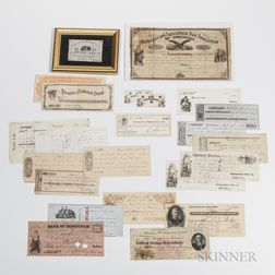 Small Group of Bank and Advertising Notes, Scrip, Checks, and Receipts