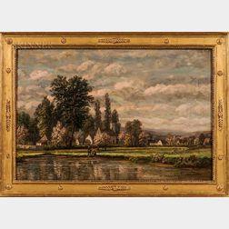Charles B. Russ (American, 1825-1920)    Village Landscape