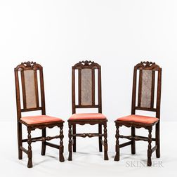 Set of Three Caned Carved Beech Side Chairs