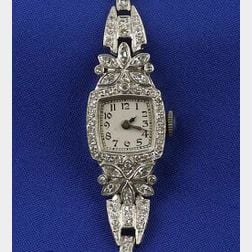 Lady's Platinum and Diamond Wristwatch
