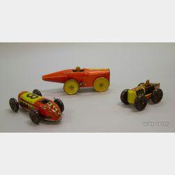Three Lithographed Tin Clockwork Racing Cars
