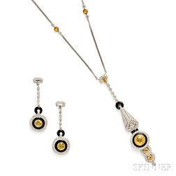 18kt White Gold, Yellow Sapphire, and Diamond Suite