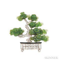 Art Deco Platinum, Hardstone, and Diamond Bonsai Tree Brooch, Ernst Paltscho