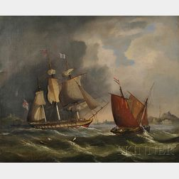 Continental School, 19th Century      Lot of Two Seascapes with Sailing Vessels in Heavy Seas