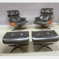 Two Eames-style Modern Naugahyde Upholstered Walnut Laminated Swivel Lounge   Chairs with Ottomans