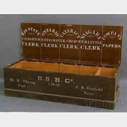 Paint-decorated Wooden Ontario Steam Boat Co. Lidded Trade Box