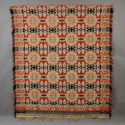 Three-color Woven Wool and Cotton Beiderwand Coverlet