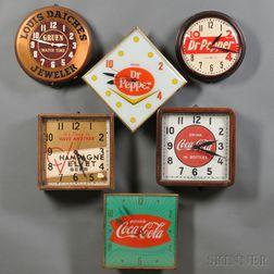 Six Electric Advertising Clocks