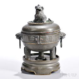 Pewter Tripod Covered Censer with Stand
