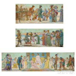 Charles Yardley Turner (American, 1850-1919)      The Triumph of Manhattan  /A Mural Study in Three Parts