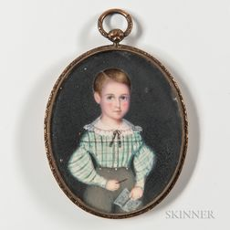 American School, Early 19th Century      Miniature Portrait of a Boy in a Plaid Shirt Holding a Sketchbook