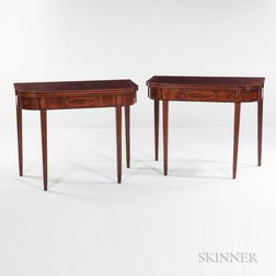 Pair of Federal Mahogany and Mahogany Veneer Inlaid Card Tables