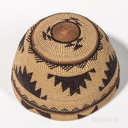 Northwest California Polychrome Basketry Hat