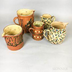 Five Polychrome Glazed Pottery Pitchers