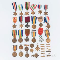 Group of British and Commonwealth Cap Insignia and Medals