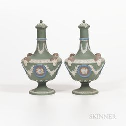 Pair of Wedgwood Four-color Jasper Dip Barber Bottles and Covers