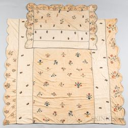 Embroidered Bed Cover and Matching Pillow Sham