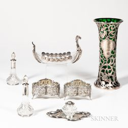 Seven Assorted Silver and Glass Pieces