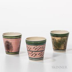 Three Don Carpentier Slip-decorated Beakers