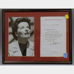 Katharine Hepburn Autographed Letter