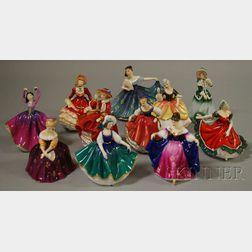 Eleven Small Royal Doulton Porcelain Figures of Ladies