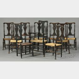 Assembled Set of Ten Painted and Turned Yoke-crested Vase-back Chairs