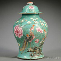 Enameled Green Jar