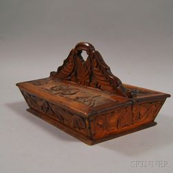 Victorian Floral and Foliate Relief-carved Cherry Cutlery Box