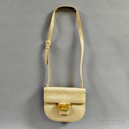 Prada Vintage Cream Leather Shoulder Bag