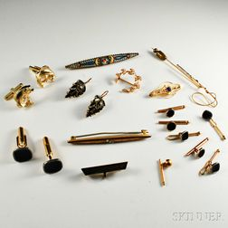 Group of Brooches, Shirt Studs, Cuff Links, and a Pair of Earpendants