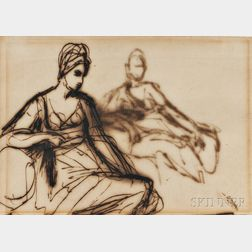Attributed to George Romney (British, 1734-1802)      Sketch of a Seated Woman