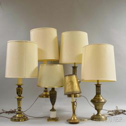 Six Brass Table Lamps
