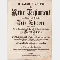 Bible, New Testament, Greek and German, Martin Luther, Das Neue Testament unsers Herrn und Heilandes Jesu Christi: dergestalt eingerich