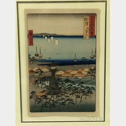 Utagawa Hiroshige (1797-1858), Demi Beach at Sumiyoshi in Settsu Province