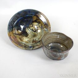 Two John Glick Plum Tree Pottery Bowls
